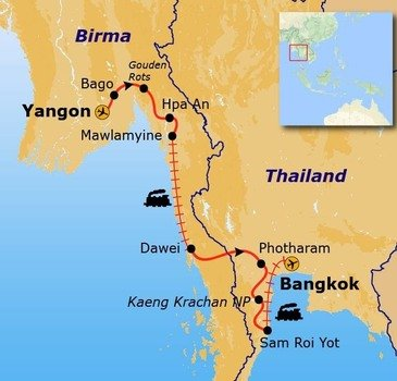 Route Myanmar en Thailand, 19 dagen