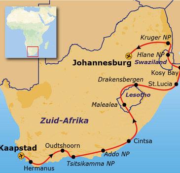Route Kaapstad - Johannesburg, 24 dagen