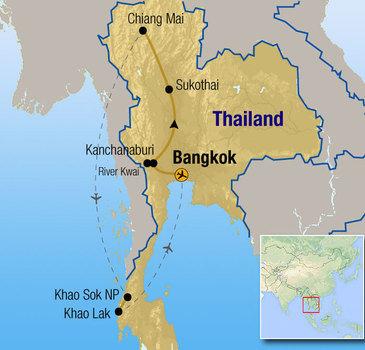 routekaartje Rondreis Thailand Comfort-Plus