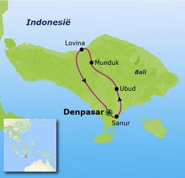 routekaartje Familiereis Bali 0 t/m 4 jaar