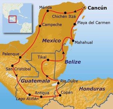 Route Ruta Maya reis, 23 dagen