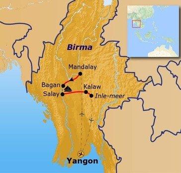 Route Myanmar - 16 dagen