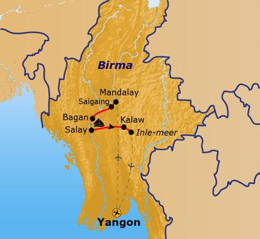Route Myanmar 2019, 16 dagen