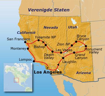 Route Verenigde Staten West, 18 dagen
