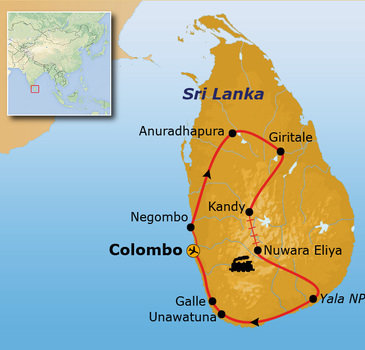 Route Sri Lanka Pop-Up reis, 14 dagen
