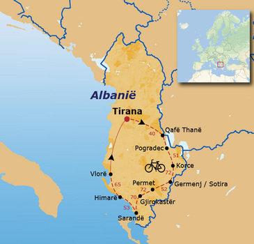 routekaartje Fietsvakantie Albanië (hotel)
