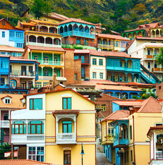 Colourful houses Tbilisi Georgië